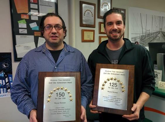 Brooklyn Minuteman Press franchise owner Wayne Herman (left) with Designer/CSR Sean Sacca (right)