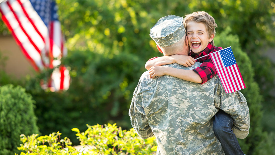 Veteran returning home with son
